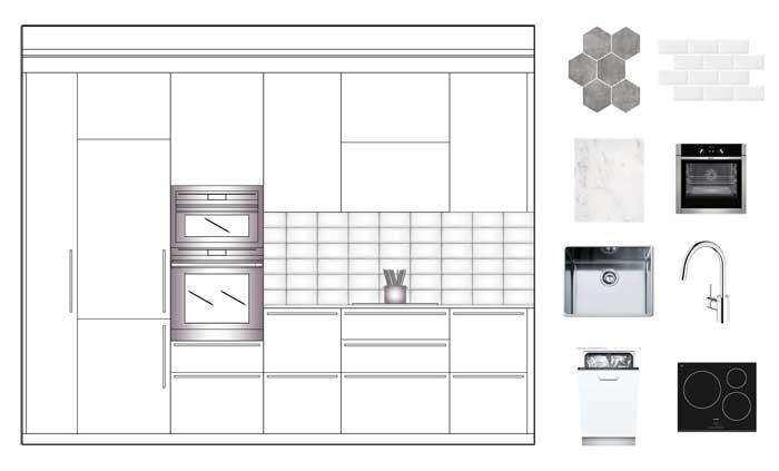 Composición alzado, mobiliario y equipamientos de cocina. Diseño de interiores Sincro.