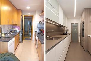 Antes y después reforma cocina en Barcelona - Sincro