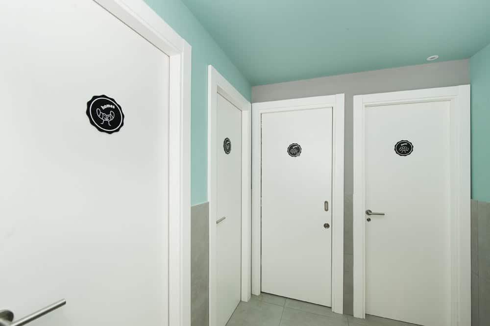 Baño wc cafetería con pared dos colores: gris y verde
