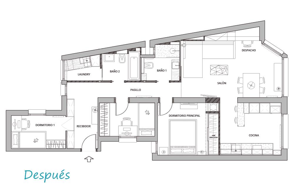 Distribución del piso de sarrià sant Gervasi. Diseño de interiores Sincro