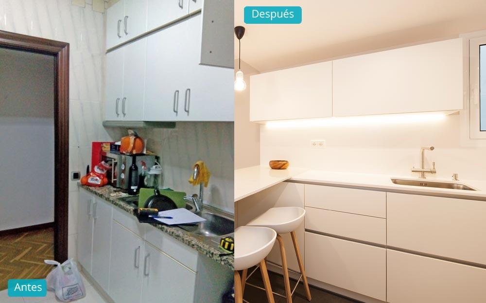 Antes y después reforma de cocina en un piso de Barcelona