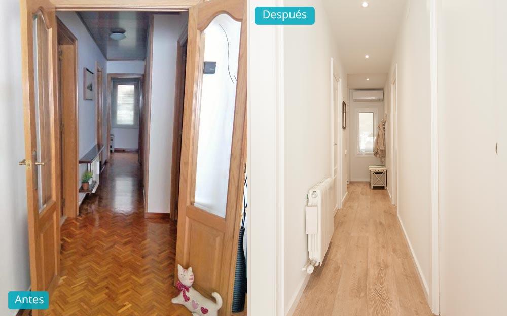 Antes y despues pasillo reforma piso