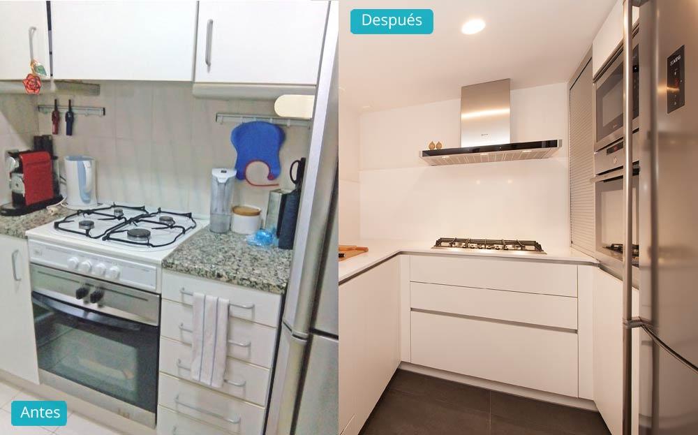 Antes y después cocina en reforma de piso en Barcelona. Sincro