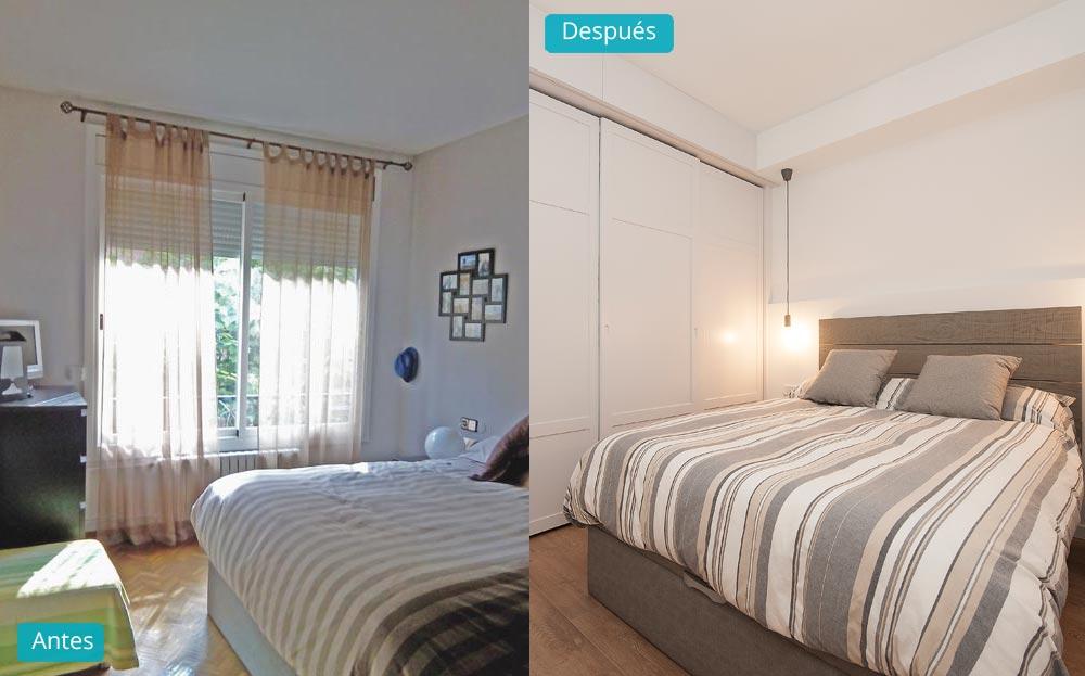 Antes y después dormitorio reforma