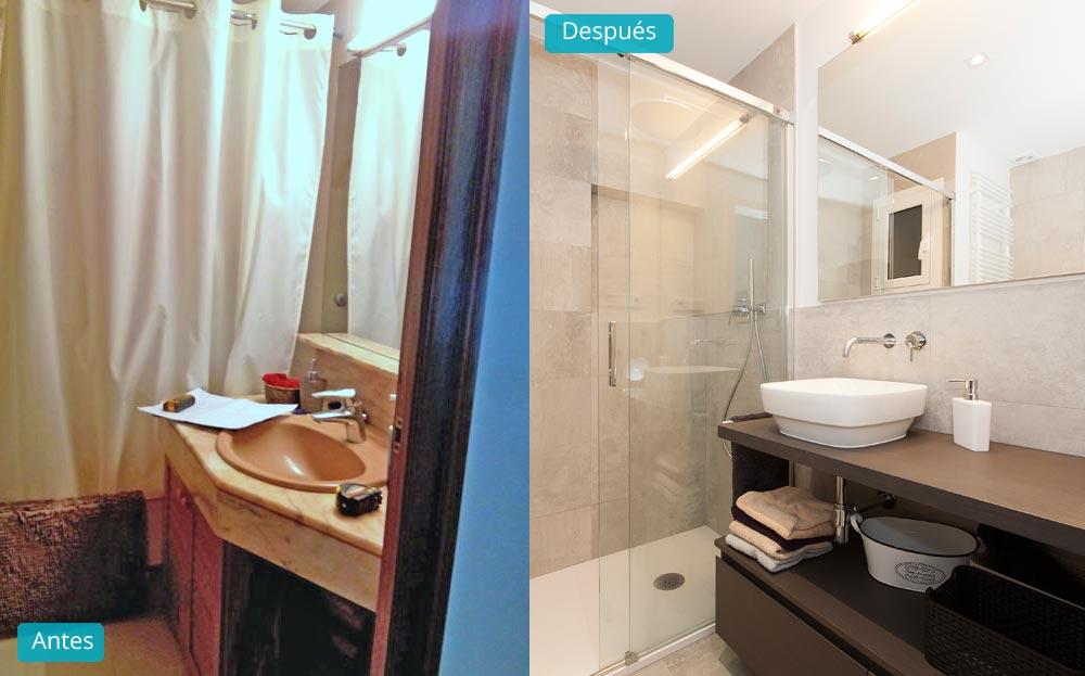 Antes y despues baño reforma