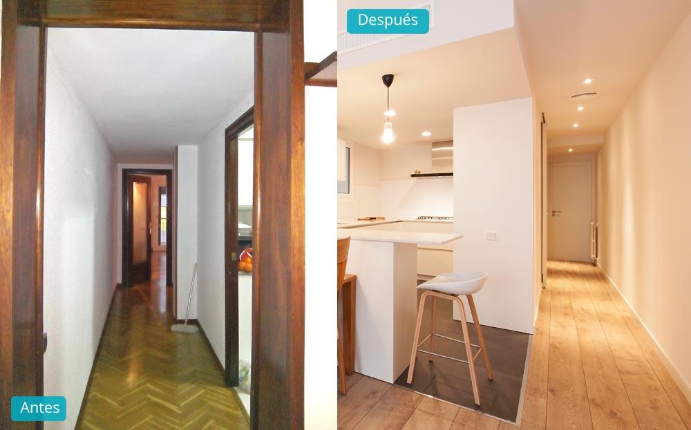 Antes y después reforma pasillo piso