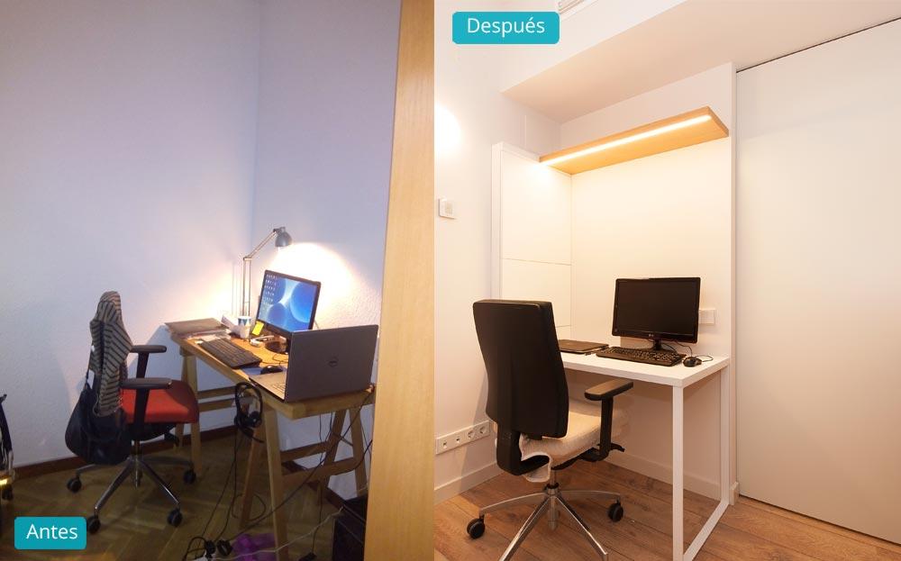 Antes y después reforma despacho estilo escandinavo