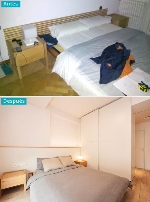 Antes y después dormitorio reforma.