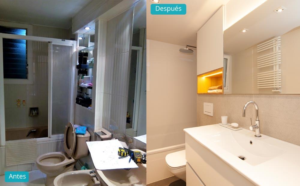Antes y después cuarto de baño para reformar