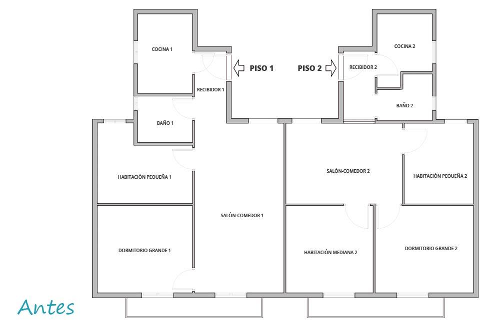 Antes de la distribución de las estancias reforma poble nou. Plano dos viviendas.
