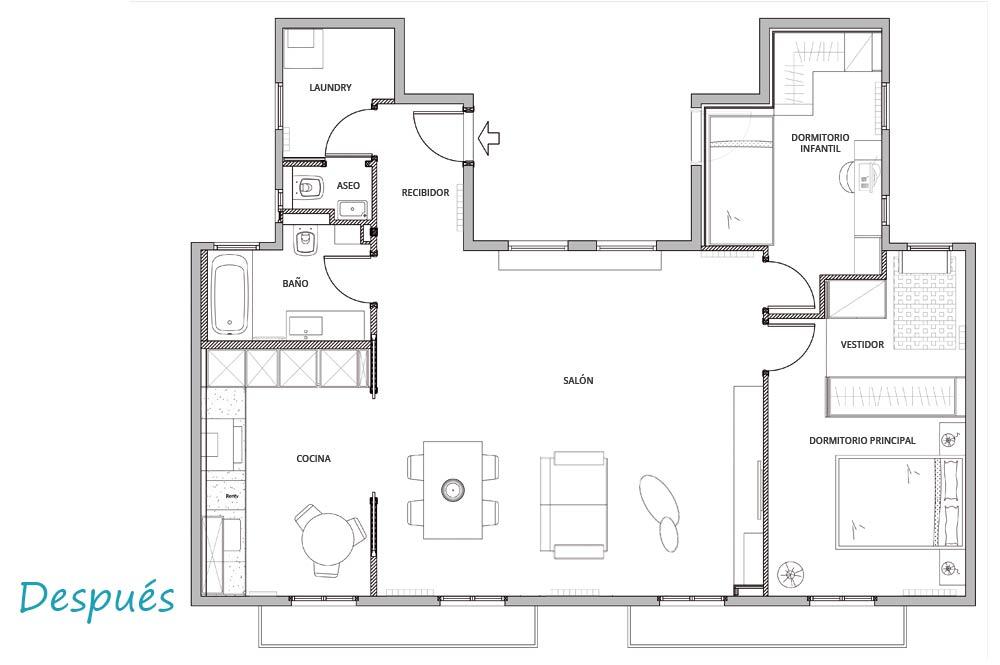 Plano de distribución del diseño interior del piso reformado por Sincro.