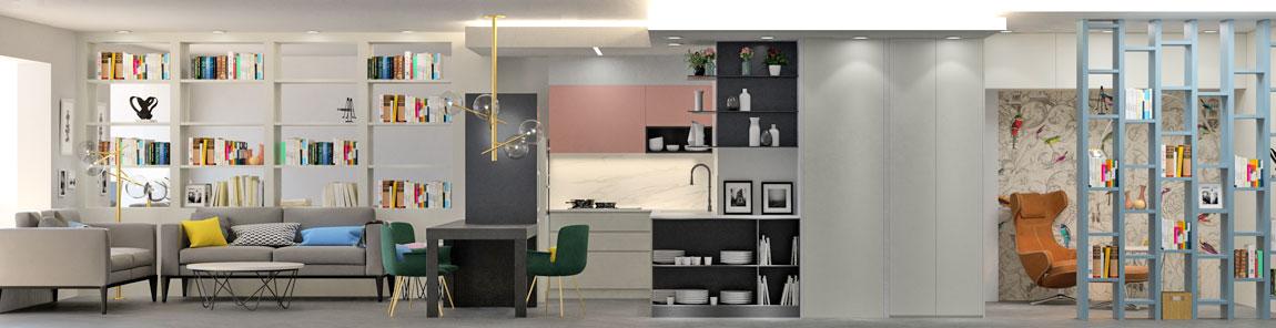 Reforma de pis en 3D saló, menjador i cuina