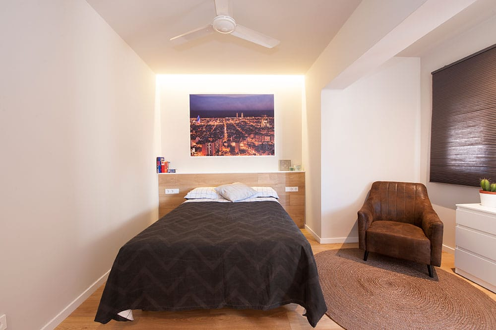 Dormitorio con decoración de barcelona. Reforma Sincro
