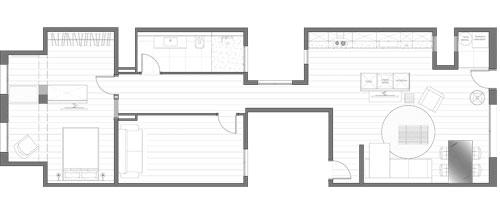 Plano de la distribución interior del piso reformado.