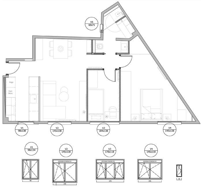 Plànol de fusteria metàl·lica en una reforma de pis realitzada per Sincro