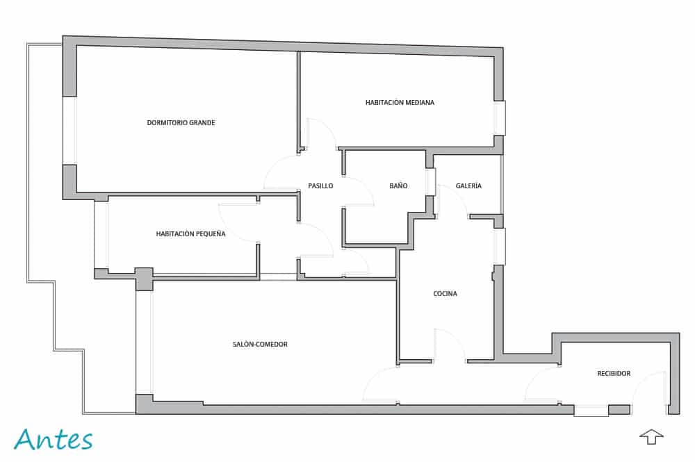 """Abans plànol distribució interior de pis reforma """"Còrsega"""""""
