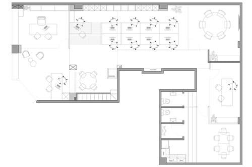 Plànol de la distribució interior de la oficina Fincas Blanco