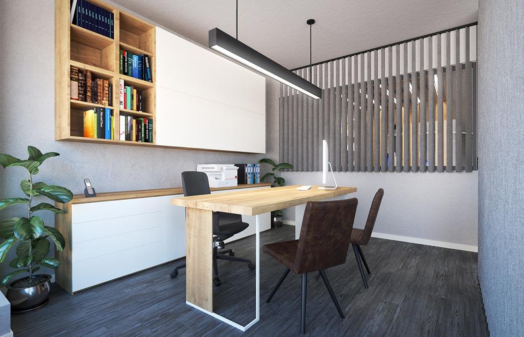Despacho oficina en render 3D. Diseño de oficinas Sincro