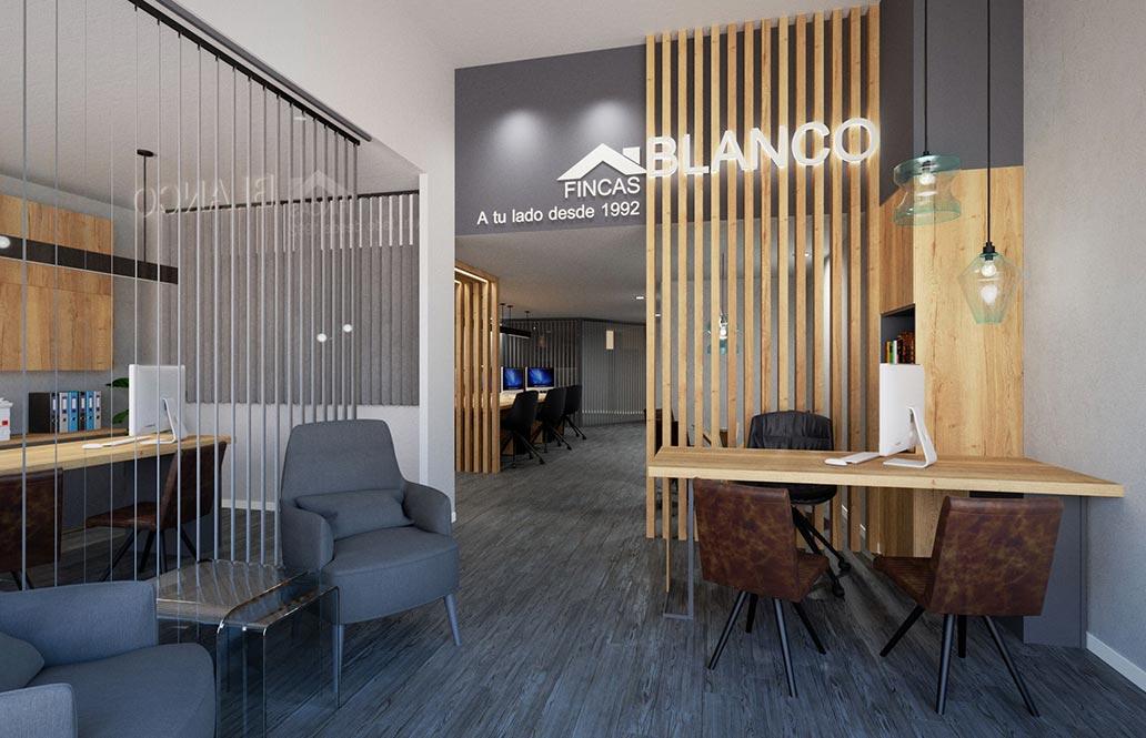 Infografía 3D de la oficina inmobiliaria fincas blanco. Diseño de locales comerciales Sincro.