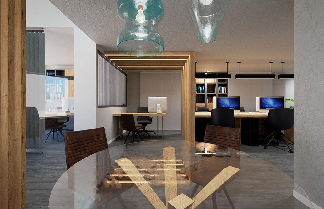 Vista del diseño de una oficina en render 3d tridimensional.