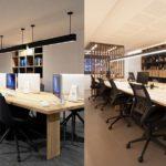 Render 3D comparación con la realidad. Zona trabajo oficina. Mesa con ordenadores.
