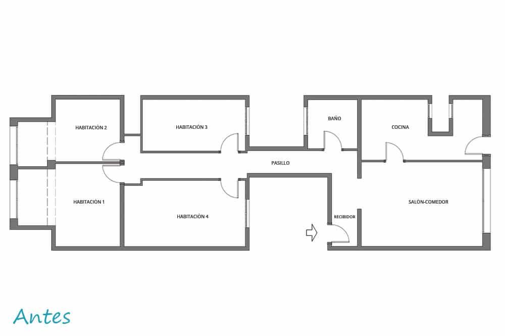 Plano de distribución interior estado inicial
