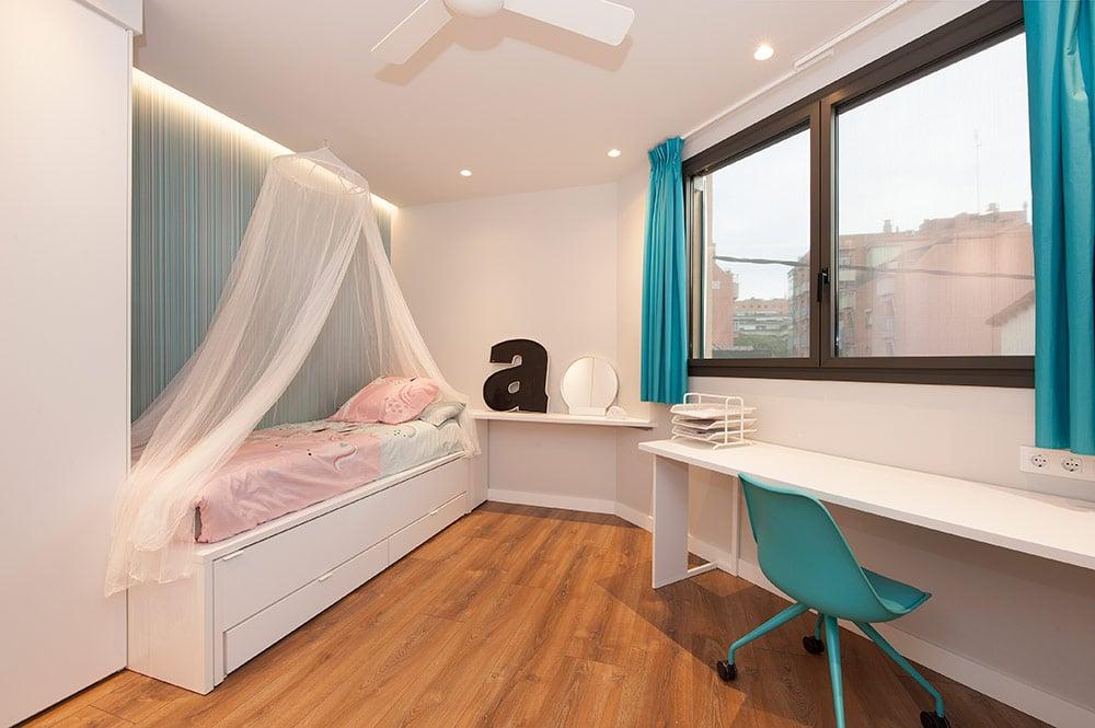 Dormitorio juvenil con tonos turquesa