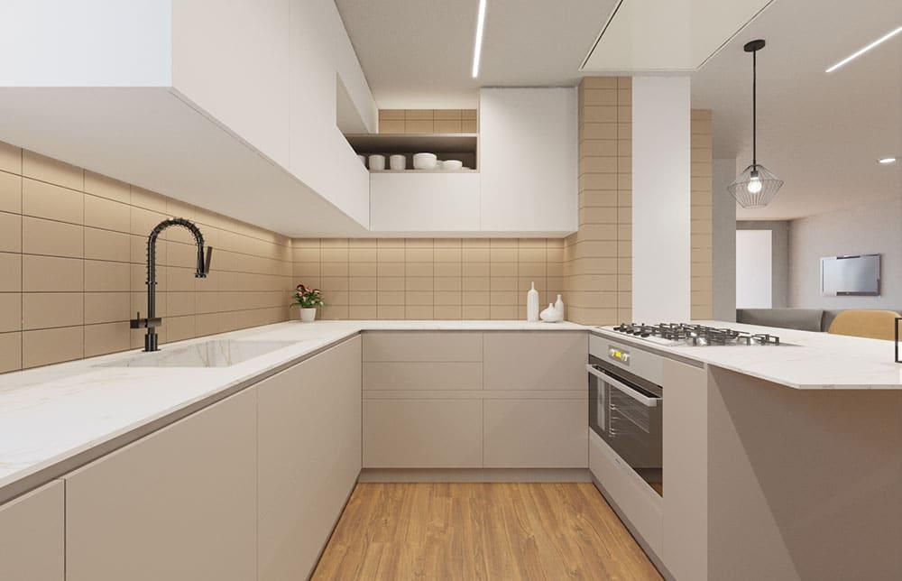 Render 3d de cocina en distribución de U. Blanco y marrón. Sincro