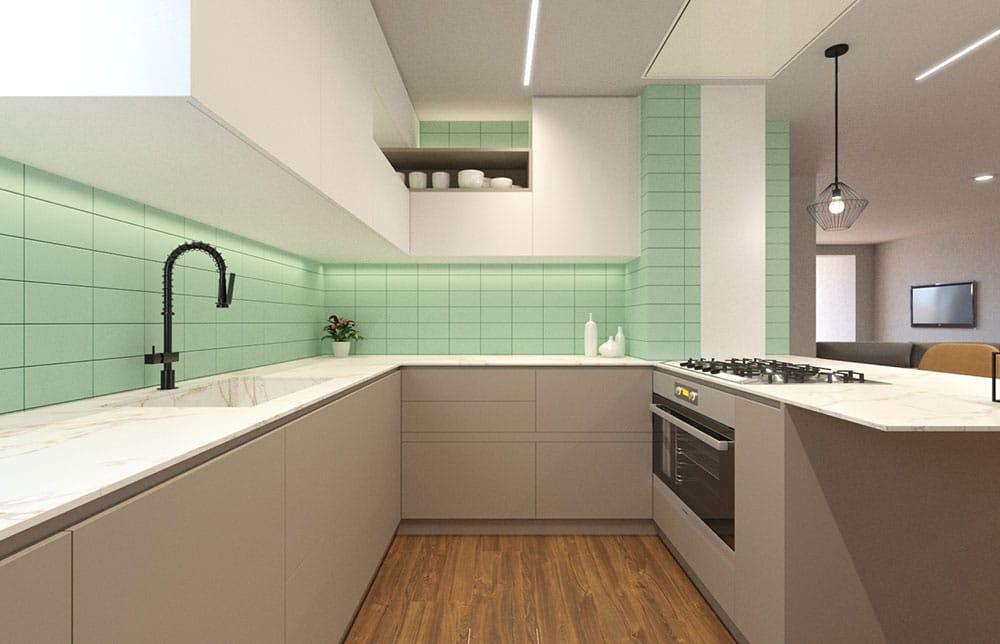 Render 3D de una cocina en distribución en U color blanco, gris y verde. Sincro