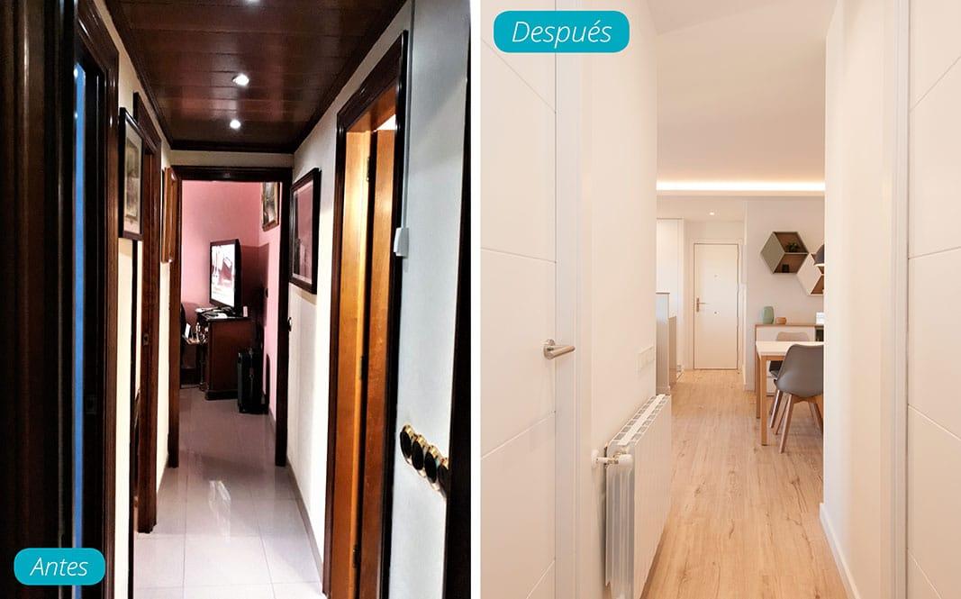 Antes y después pasillo reformado. Reforma piso Sincro