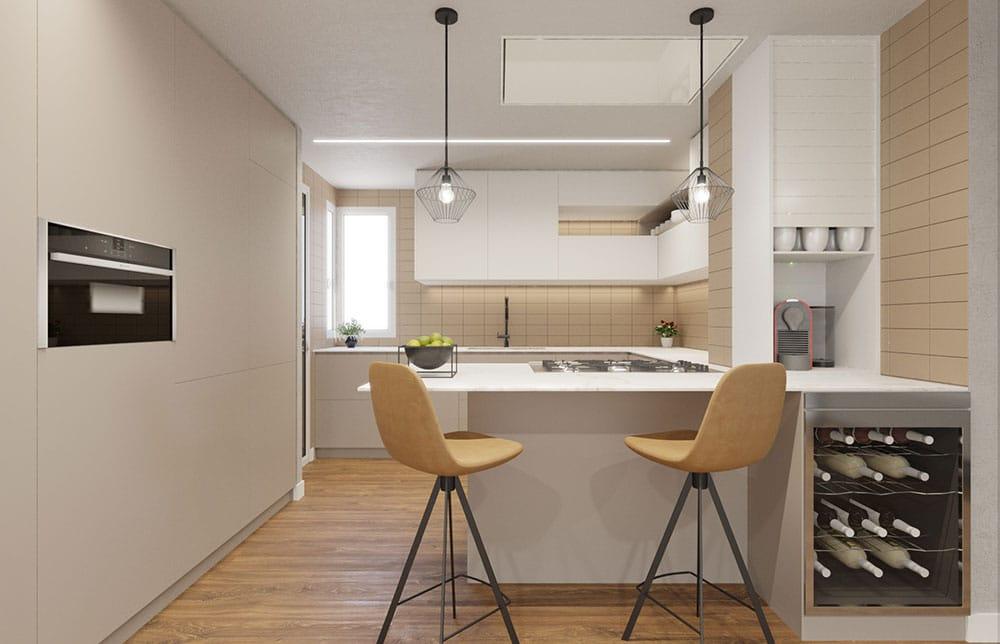 Render 3d cocina moderna con baldosa de color marrón claro. Sincro