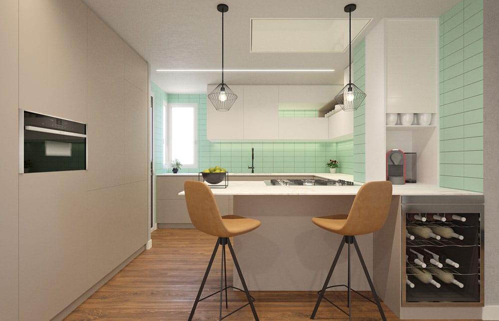 Render 3d cocina moderna con península con barra. Blanco y verde claro. Sincro