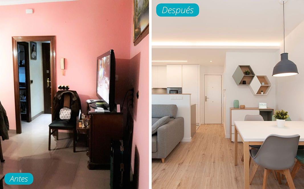 Antes y después salón reformado. Reforma piso Sincro