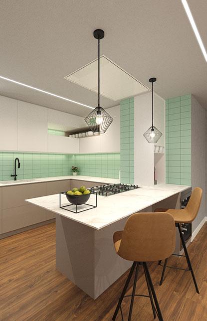 Render 3D cocina baldosa verde península con barra