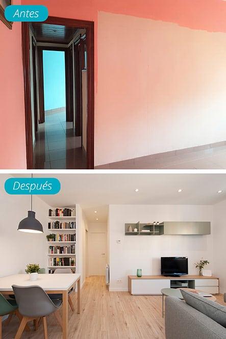 Antes y después pasillo de piso reformado. Sincro