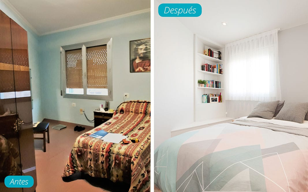 Antes y después dormitorio. Reforma piso Sincro en Barcelona.