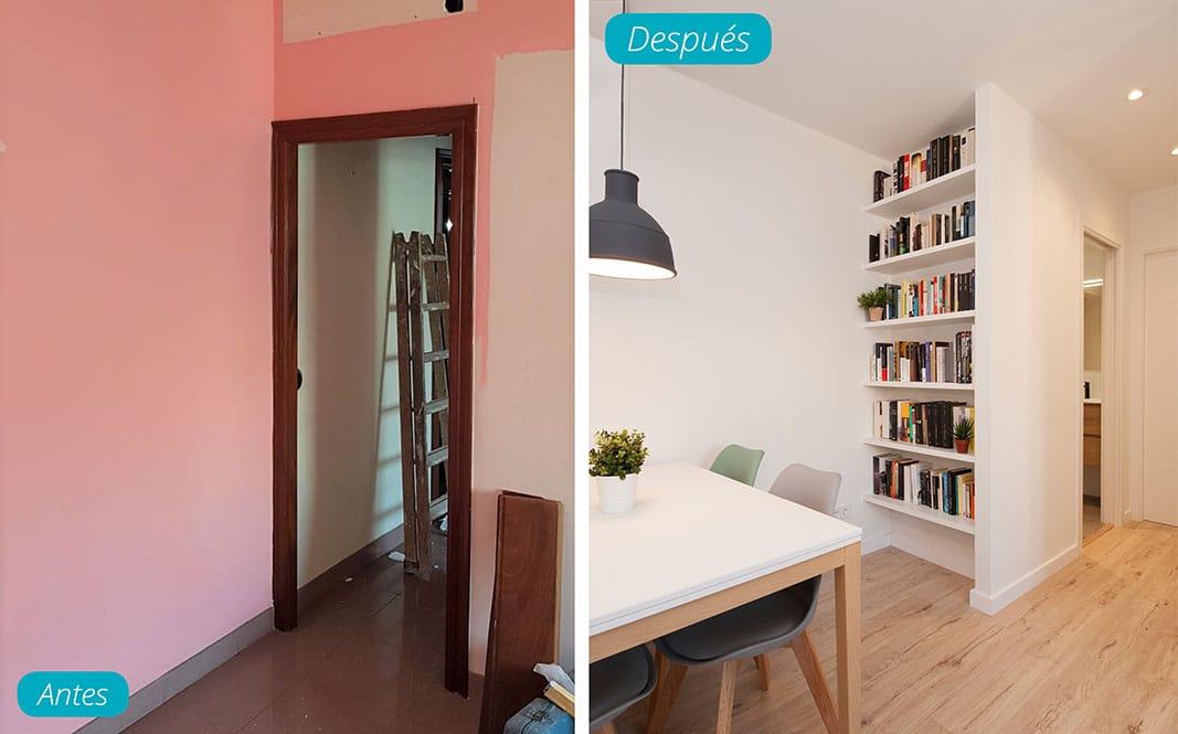 Antes y después rincón sala estar con librería. Reforma piso Sincro