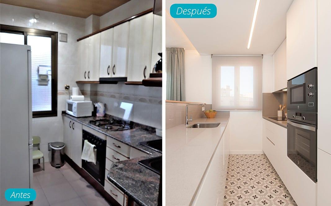 Antes y después cocina en paralelo. Reforma piso Sincro