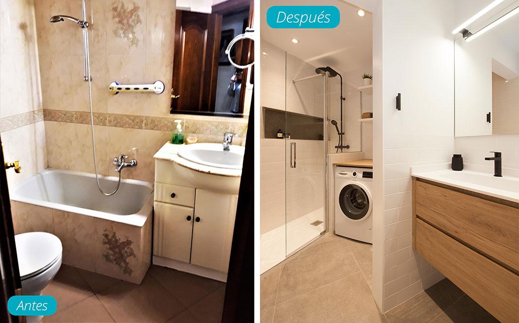 Antes y después baño reformado. Reforma piso Sincro