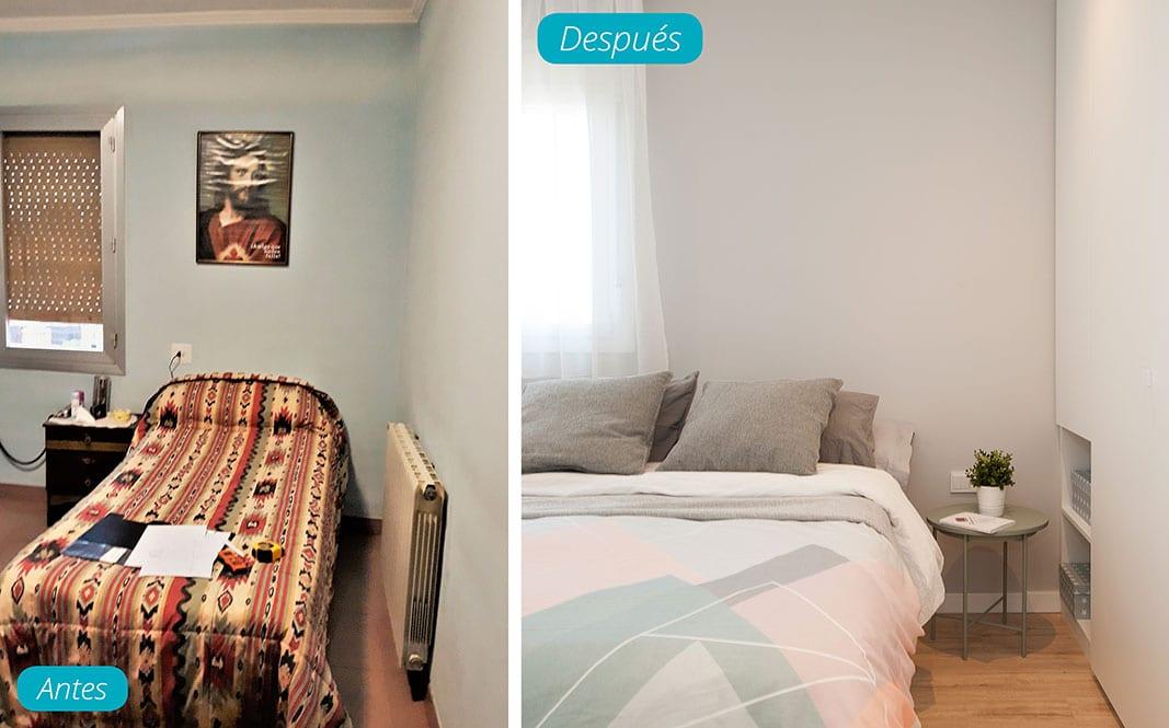Antes y después dormitorio. Reforma piso Sincro