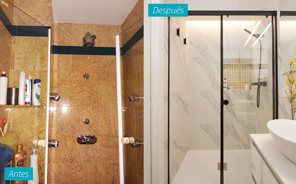 Antes y después de una ducha reformada. Sincro