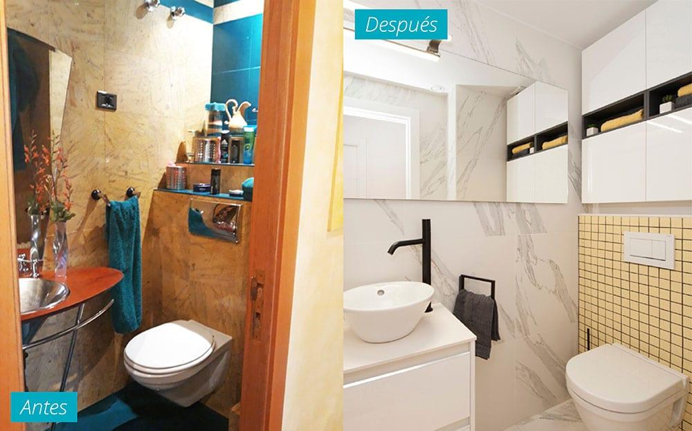 Baño antes y después de un piso reformado El Clot de Barcelona