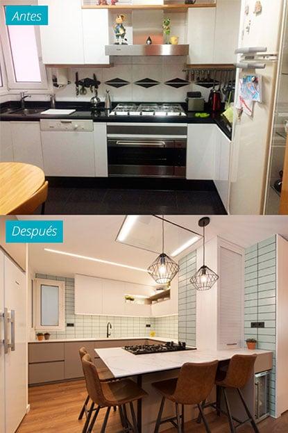 Cocina antes y después de un piso reformado en El Clot de Barcelona