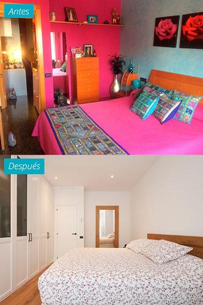 Dormitorio antes y después de un piso reformado en El Clot Barcelona