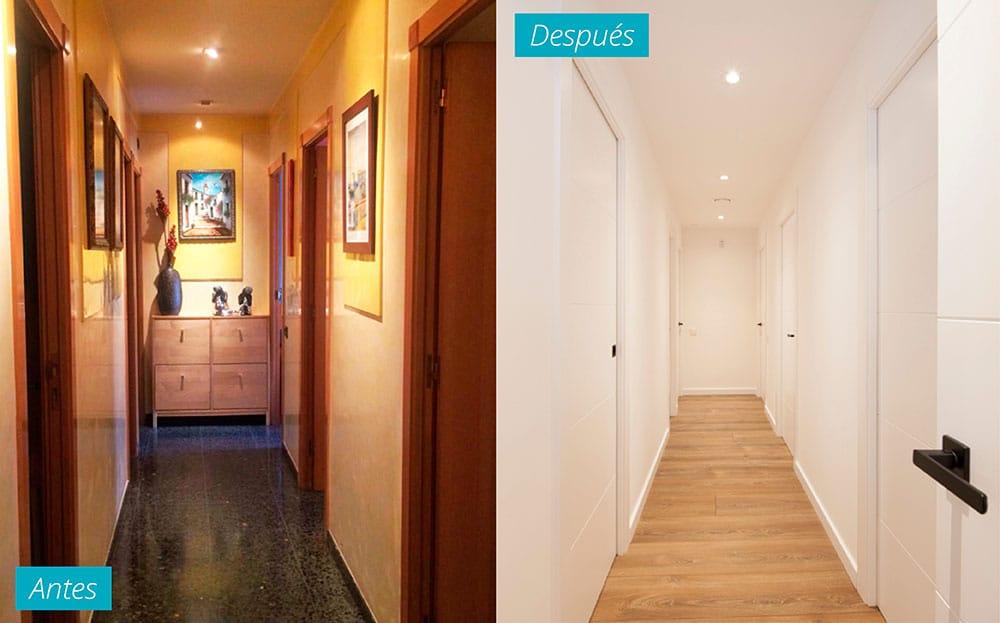 Pasillo antes y después de un piso reformado en El Clot de Barcelona