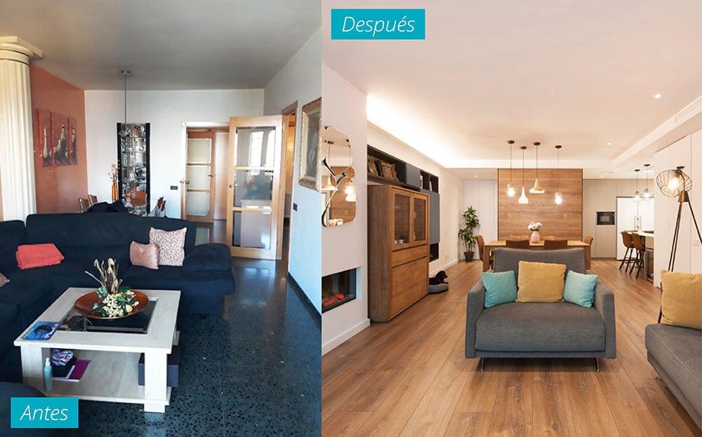 Salón antes y después. Reforma piso en El Clot de Barcelona