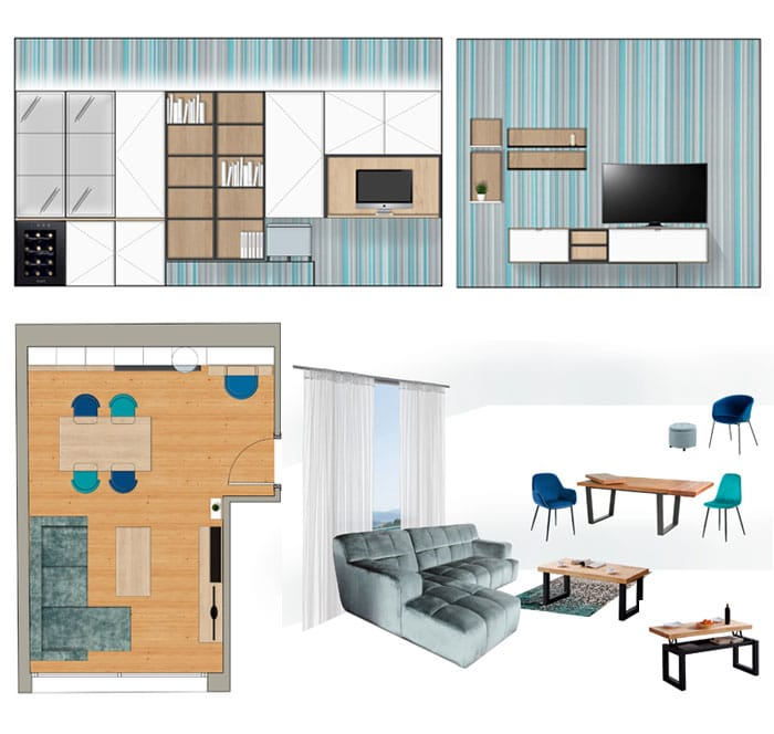 Moodboard mobiliario y decoración - Sincro