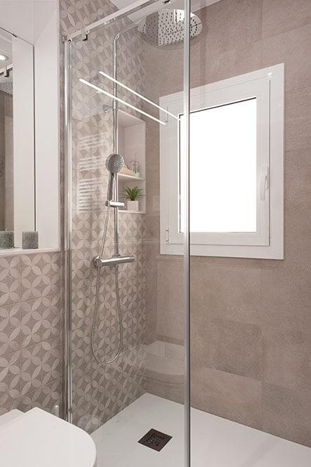 Hornacina con dos estantes en ducha fabricado en Silestone blanco.