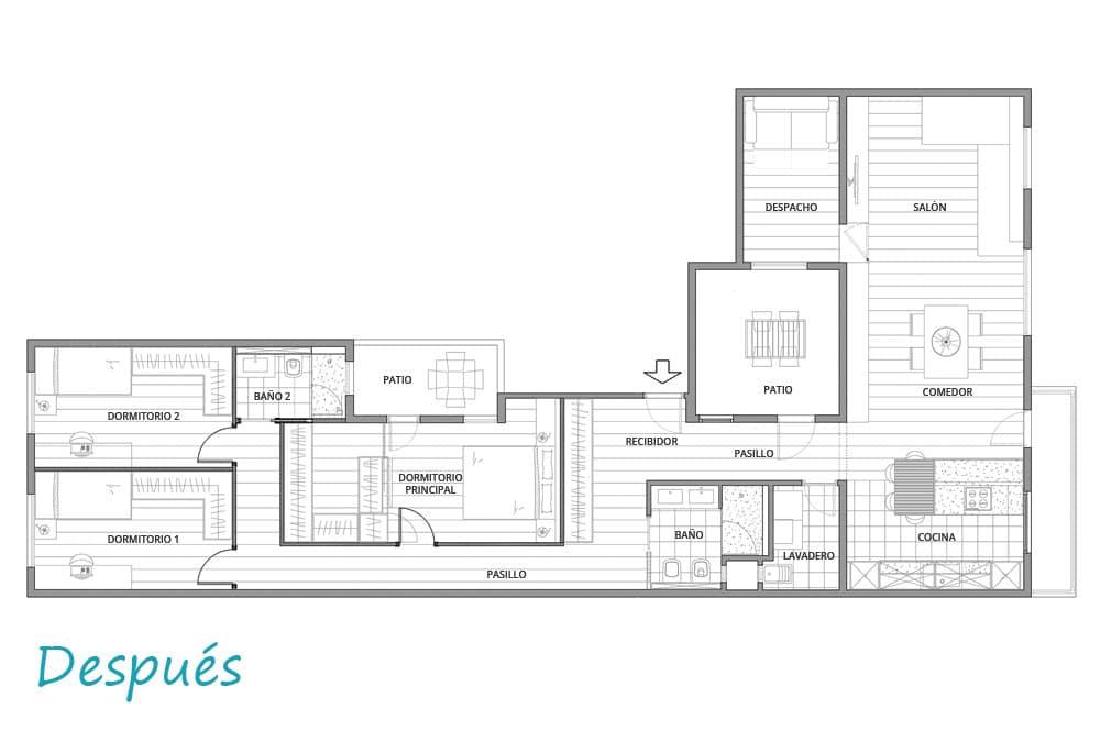 Plano de distribución después de unir dos pisos de una misma planta. Proyecto Estruch.