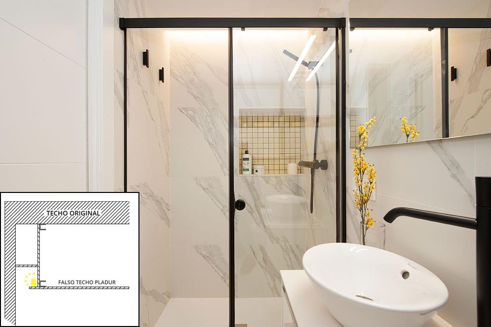 Detalle constructivo foseado tira led en baño - Sincro